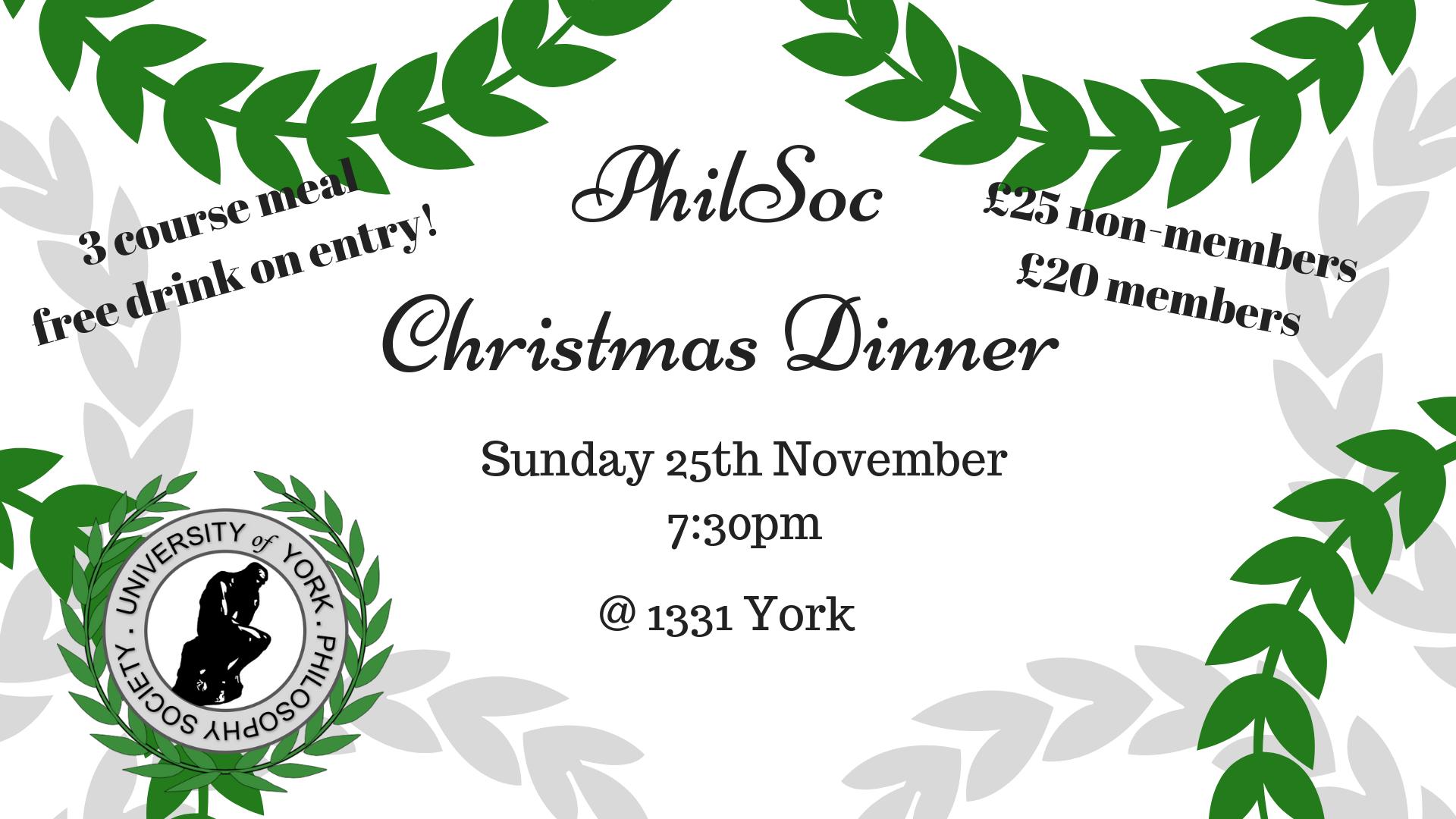PhilSoc Christmas Dinner